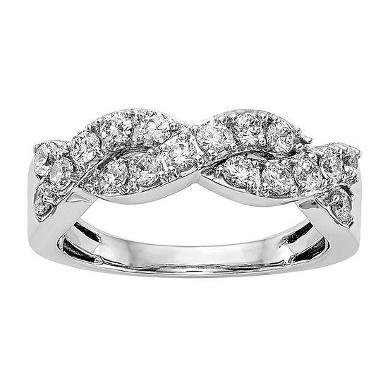 2MM 3/4 CT. T.W. Genuine White Diamond 14K White Gold Wedding Band