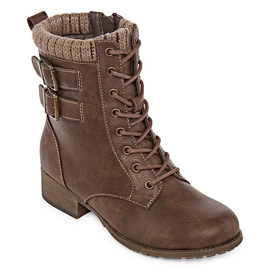 Pop Womens Ricardo Lace Up Boots Block Heel