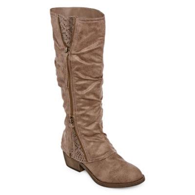 Pop Womens Omaria Riding Boots Block Heel Zip