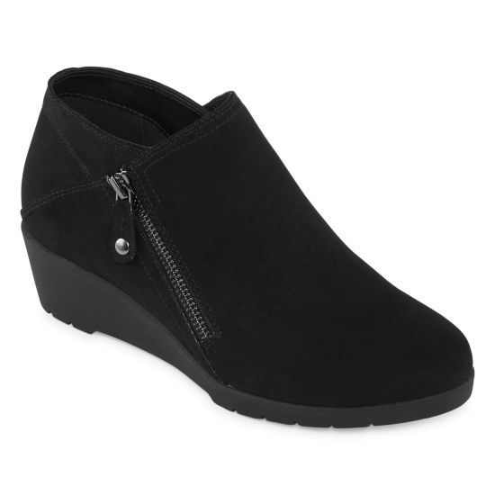 St. John's Bay Womens Eastern Wedge Heel Zip Bootie