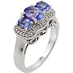 Womens 1/10 CT. T.W. Purple Tanzanite Sterling Silver 3-Stone Cocktail Ring