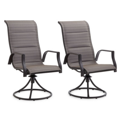 Outdoor Oasis Melbourne Set of 2 Padded Swivel Patio Dining Chairs
