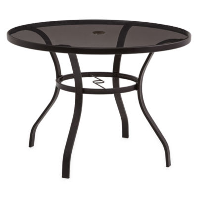 Outdoor Oasis Melbourne Round Smoke Glass Top Patio Dining Table
