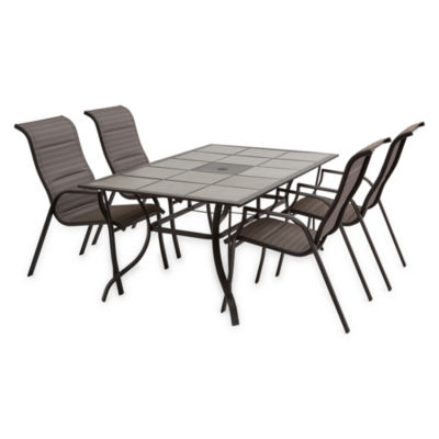 Outdoor Oasis Melbourne 5-pc. Rectangular Tile Top Table Patio Dining Set