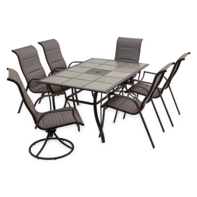 Outdoor Oasis Melbourne 7-pc. Rectangular Tile Top Table Patio Dining Set with Swivel Chairs