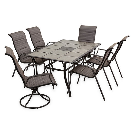 Outdoor Oasis 7-Pc Melbourne Rectangular Tile Table with Swivel Chairs Patio Dining Set