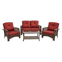 Deals on Outdoor Oasis Palm Island 4-pc Wicker Loveseat Conversation Set