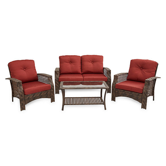 Outdoor Oasis Palm Island 4-pc. Wicker Loveseat Conversation Set