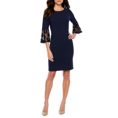 Sharagano 3/4 Sleeve Sheath Dress
