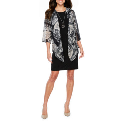 R & K Originals 3/4 Sleeve Faux Jacket Dress with Necklace