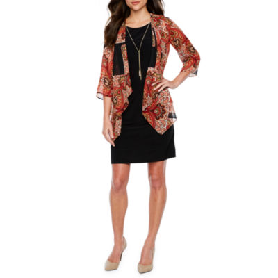 R & K Originals 3/4 Sleeve Faux Jacket Dress
