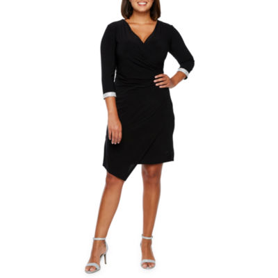 R & M Richards 3/4 Sleeve Wrap Dress-Petite