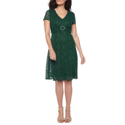 Perceptions Short Sleeve Fit & Flare Dress-Petite