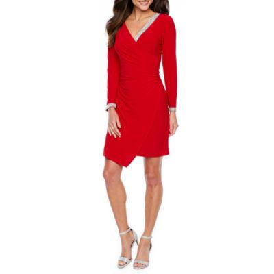 MSK Long Sleeve Embellished Sheath Dress