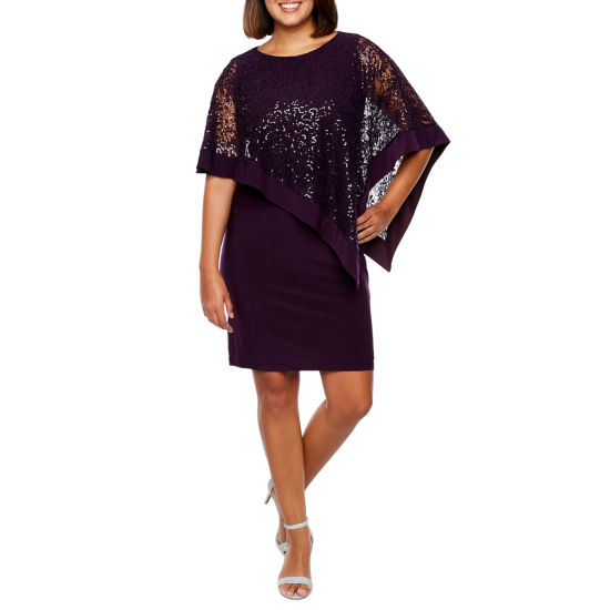 R & M Richards 3/4 Sleeve Embellished Cape Shift Dress