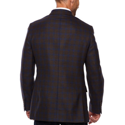 Stafford Merino Wool Stretch Brown Blue Checked Classic Fit Sport Coat