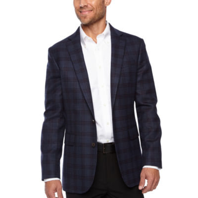 Stafford Merino Wool Stretch Slim Fit Blue Plum Check Sport Coat