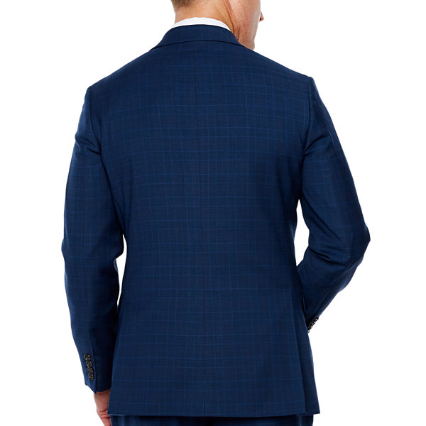 Stafford Travel Mens Plaid Stretch Classic Fit Suit Jacket