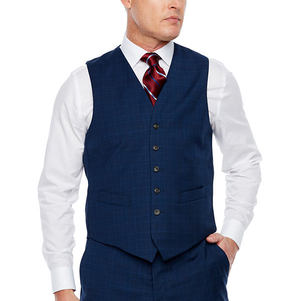 Stafford Mens Plaid Stretch Classic Fit Suit Vest