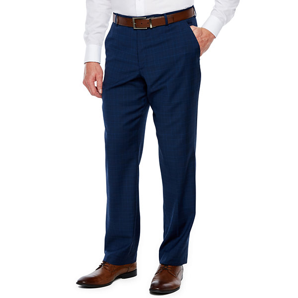 Stafford Mens Plaid Stretch Classic Fit Suit Pants