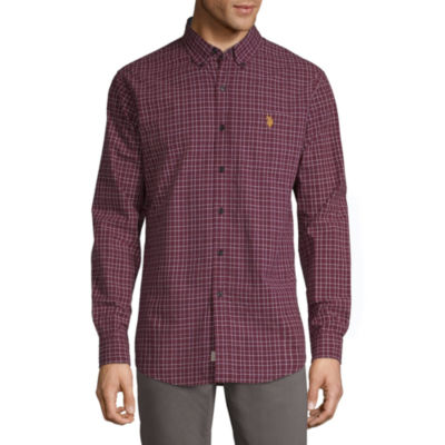 U.S. Polo Assn. Mens Long Sleeve Plaid Button-Front Shirt Slim