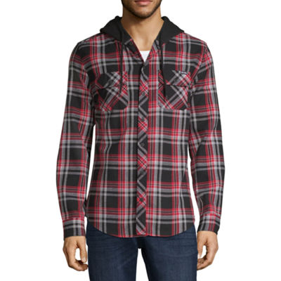 Zoo York Mens Hooded Neck Long Sleeve Button-Front Shirt