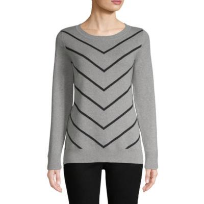 Liz Claiborne Womens Crew Neck Long Sleeve Pattern Pullover Sweater