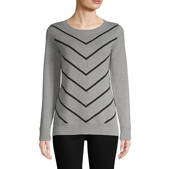 Liz Claiborne Womens Crew Neck Long Sleeve Pullover Sweater Jcpenney