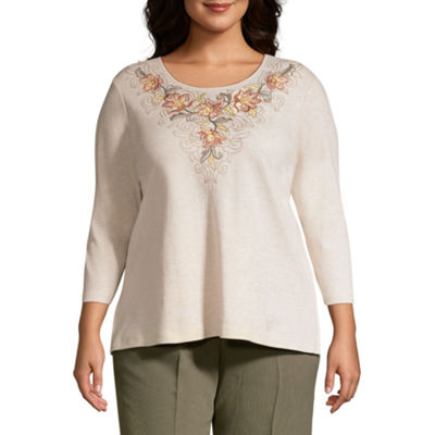 Alfred Dunner Autumn in New York Scroll Flower Blouse - Plus