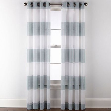 JCPenney Home Metallic Stripe Sheer Grommet-Top Single Curtain Panel, One Size , Blue