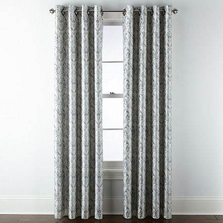 JCPenney Home Blaine Blackout Grommet-Top Single Curtain Panel, One Size , Beige