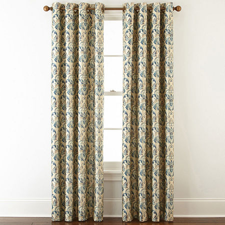 JCPenney Home Blaine Blackout Grommet-Top Curtain Panel, One Size , Blue