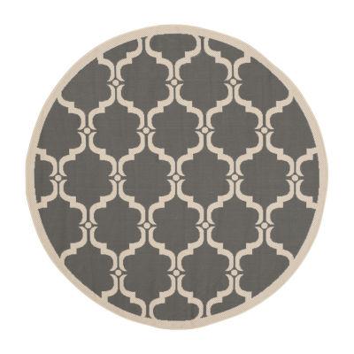 Safavieh Courtyard Collection Jobeth Geometric Indoor/Outdoor Round Area Rug