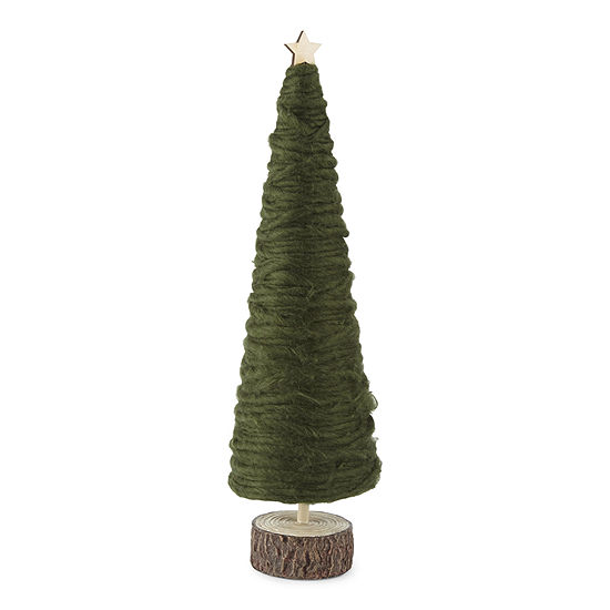 "North Pole Trading Co. Enchanted Woods 18"" Yarn Christmas Tabletop Tree"