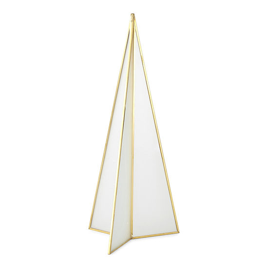 """North Pole Trading Co. Snow Haven 13.75"""" Frosted Prism Christmas Tabletop Tree"""