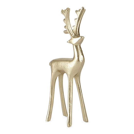 "North Pole Trading Co. Snow Haven 9.25"" Gold Reindeer"