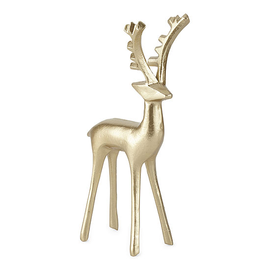 """North Pole Trading Co. Snow Haven 10.37"""" Gold Reindeer"""