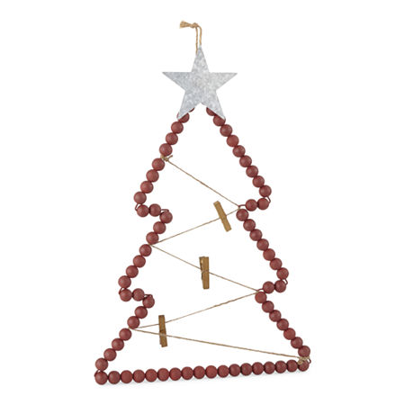 North Pole Trading Co. Sleigh Ride Christmas Tree-Shaped Card Hanger, One Size , Red