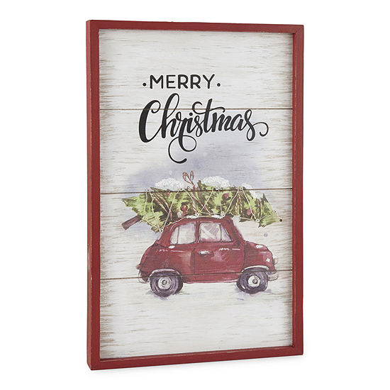 North Pole Trading Co. Sleigh Ride Red Car Wall Sign