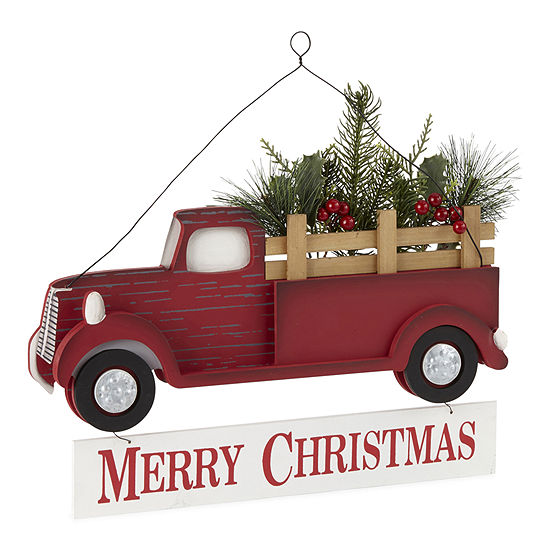 North Pole Trading Co. Sleigh Ride Red Truck Wall Sign