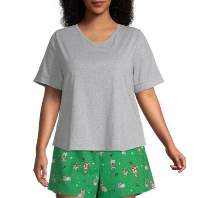 Sleep Chic Womens-Plus Pajama Top Round Neck