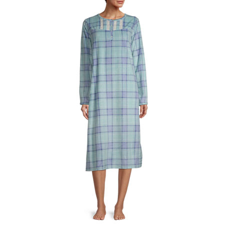 Vintage Nightgowns, Pajamas, Baby Dolls, Robes Adonna Womens Fleece Nightgown Long Sleeve Scoop Neck Large  Blue $16.38 AT vintagedancer.com