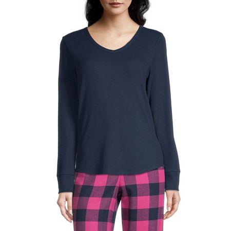 Sleep Chic Womens V Neck Knit Pajama Top, X-small , Blue