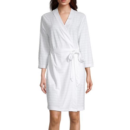 Liz Claiborne Textured Womens Robe 3/4 Sleeve Knee Length