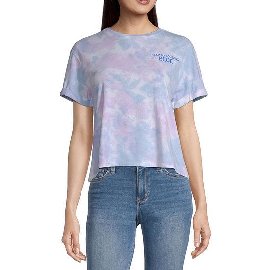 Mighty Fine-Juniors Womens Crew Neck Short Sleeve Tie-dye Graphic T-Shirt