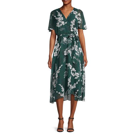 Studio 1 Short Sleeve Floral Midi Fit & Flare Dress