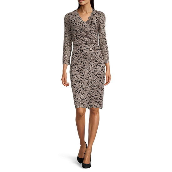 Jessica Howard ¾ Sleeve Lace Sheath Dress