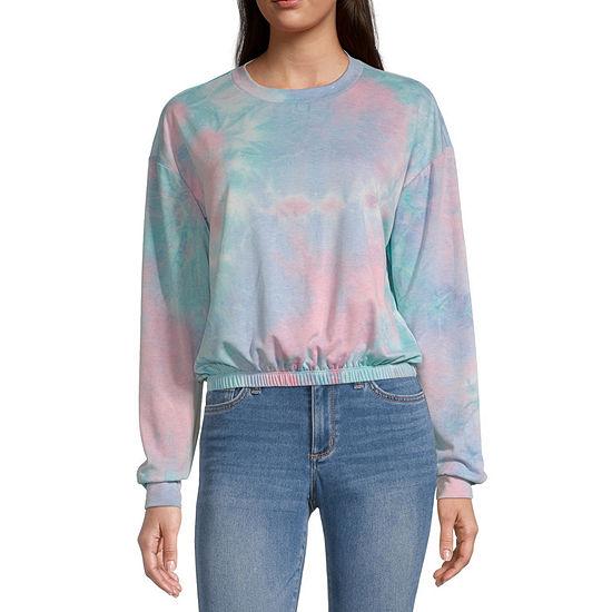 Cut And Paste Juniors Womens Crew Neck Long Sleeve Tie-dye Sweatshirt