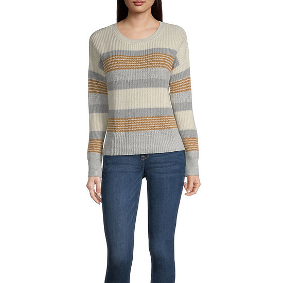 by&by-Juniors Womens Crew Neck Long Sleeve Striped Pullover Sweater