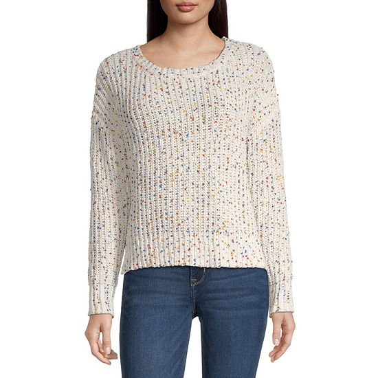by&by-Juniors Womens Crew Neck Long Sleeve Confetti Pullover Sweater